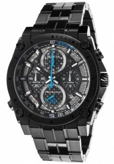 바이즈 - Bulova Men's Precisionist Chrono Gunmetal IP SS Black Carbon Fiber Dial 98B229