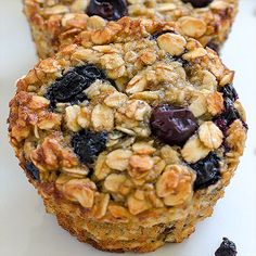 Baked Blueberry Banana Oatmeal Cups - perfect and healthy way to start your day! Delicious, moist and not too sweet! Very easy to make, fast to eat and good choice for every occasion! Raspberry Oatmeal Muffins, Oatmeal Cups, Blue Berry Muffins, Baked Oatmeal, Oatmeal Diet, Strawberry Muffins, Fast Healthy Meals, Healthy Fruits, Healthy Cooking