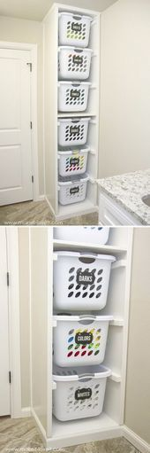 Most Popular Posts For The Month DIY Laundry Basket Organizer. More<br> Laundry Basket Organization, Laundry Room Storage, Laundry Room Organization, Laundry Room Design, Diy Organization, Laundry Organizer, Laundry Rooms, Basement Laundry, Laundry Baskets
