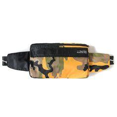 100% nylon hip sack with contrast camo panels, buckle closure and intarsia ROKIT logo on straps.