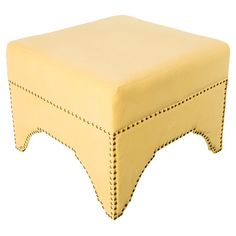 Add a lovely touch to your living room or den with this wood-framed ottoman, showcasing nailhead trim and yellow upholstery.  Produc...
