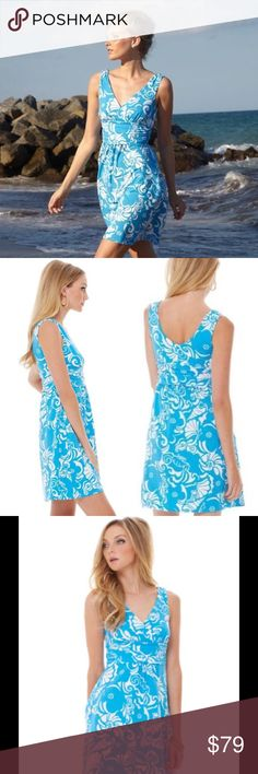 """🆕 Lilly Pulitzer Shianne Dress Ariel blue A printed jersey dress that's modeled off of your favorite maxi, Sloan, You can wear this dress anywhere. From errands to a cruise. Dress up or down, Shianne is it. Enjoy! Sleeveless V-Neck Dress With Empire Waistline. Cotton Spandex Single Jersey - Print (92% Cotton, 8% Spandex). Machine Wash Cold. Imported. Underarm across 15"""". Length 35"""". Brand new with tag. Retail price $148. Lilly Pulitzer Dresses"""