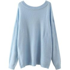Yoins Yoins Light Blue Scoop Collar Dropped Shoulder Jumper ($29) ❤ liked on Polyvore featuring tops, sweaters, blue, sweaters & cardigans, jumpers sweaters, relaxed fit tops, jumper top, blue top and cotton sweater