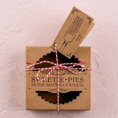 "Our ""Sweetie Pies"" kit includes everything you will need to wrap up 20 mini pies in nostalgic retro style. Kits include boxes, tags, wax sheets and pre-cut twine. Creates a charming presentation for h"