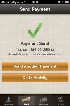 Payment, donation or tip confirmation