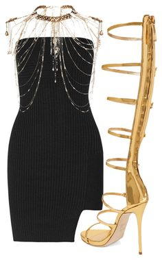 Black & Gold by carolineas on Polyvore featuring polyvore, fashion, style, Anthony Vaccarello, Giuseppe Zanotti, Erickson Beamon, women's clothing, women's fashion, women, female, woman, misses and juniors
