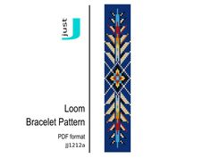 Bead loom pattern, native american bracelet, loom bracelet pdf, american jewelry, american pattern, colorful bracelet, beading tutorial by JustJBoutique on Etsy