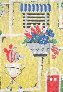 FAB 1950s VINTAGE COTTON BARKCLOTH FABRIC - KITSCH STREET SCENES + ATOMIC DESIGN
