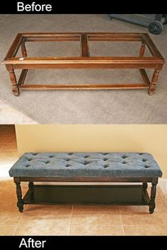 A table ottoman refurbish Furniture @ Home Improvement Ideas .... Now paint the bottom a fun color and use a cute fabric and I'd love it even more!