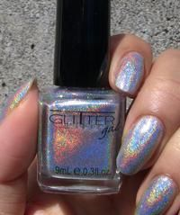 GLITTER GAL 3-D Holographic Nail Polish 0.3 oz. ~Light As A Feather~