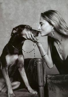 estella warren, photo shoot, girl, kiss, dog