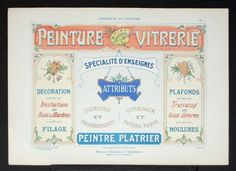 An original pochoir print from the rare book: Attributs au Pochoir, Modeles d'Enseignes et Inscriptions par A. Charayron & Leon Durand, printed in the late 1800's to early 1900's.