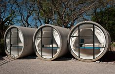 TuboHotel is a unique hotel created using concrete pipes by It is located in the village of Tepoztlan, Morelos, south of Mexico City. The hotel is Casa Bunker, Eco Pods, Recycled Concrete, Unusual Hotels, Hotel Room Design, Camping Glamping, Luxury Glamping, Camping Pod, Das Hotel