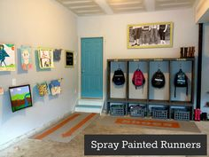 East Coast Creative: Custom Painted Runner Rugs {Garage Mudroom Makeover}