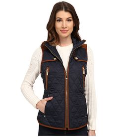 Vince Camuto Quilted Vest J8611 Navy/Cognac - Zappos.com Free Shipping BOTH Ways