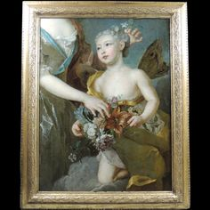 """""""Marie Anne Victoire De Bourbon In Zephyr , workshop of Nicolas De #Largilliere"""". Exceptional fragment of a painting (#oil on #canvas) depicting an allegory of the """"Infanta Queen"""" coming from the west and personified in Zephyr. Original carved wooden frame. Circa #1724. For sale on Proantic by Art & Antiquities Investment."""