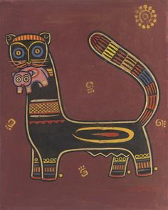 Jamini Roy (1887-1972) Untitled (cat With Kitten)