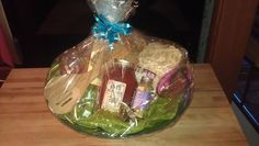 Italian Dinner & Dessert Gift Basket  phase #3 contents include, pasta, pasta sauce, bread dipping blend, 2 wine glasses, wooden spoons, Biscotti for dessert