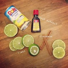 Aloha Summer Stovetop Potpourri  1 lime 2 drops of coconut extract 1 cinnamon stick 1 can of pineapple juice 4 cups of water