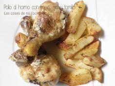 Pollo al horno con limón, ajo y tomillo