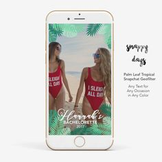 SNAPCHAT Geofilter Palm Leaf Tropical Bachelorette by SnappyDaysCo