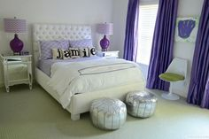 Glam Teen Girl's Bedroom With Purple Patterns and Silver Accents