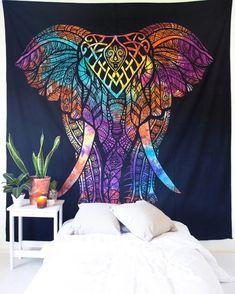 Tie Dye Elephant Tapestry – The Bohemian Shop Bohemian Room, Bohemian House, Tapestry Bedroom, Tapestry Wall Hanging, Elephant Tapestry, Mandala Tapestry, Boho Designs, Tie Dye, Wall Decor