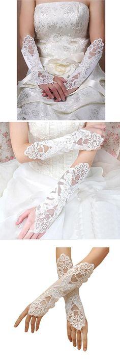 Deceny CB Lace Wedding Gloves Fingerless Satin Gloves for women Party Costume (White)