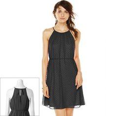 ELLE Textured Dot Trapeze Dress - Women's