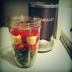 Favorite @NutriBullet breakfast recipe = kale, spinach, banana, strawberries, raspberries,almond :) #nutribullet