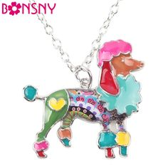 Bonsny Statement Metal Alloy Poodles Choker Necklace Chain Collar Pendant 2016 Fashion New Enamel Jewelry For Women