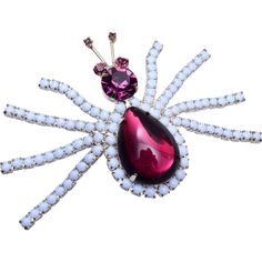 KJL Purple and Light Blue Spider Brooch