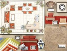 interior design board: I like the mini sample furniture, I did that for a class last fall and it was fun!