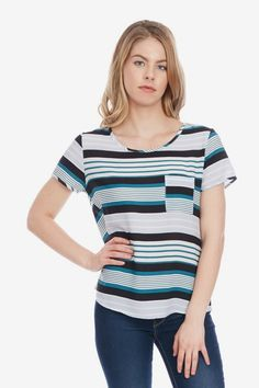 Noir Stripe Pocket Top in XS
