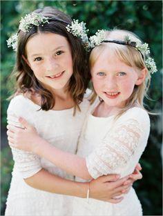 rustic flower girls with babys breath halos #flowergirl #rusticwedding #weddingchicks http://www.weddingchicks.com/2014/02/20/beautiful-oregon-wedding/