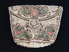 Beautiful Victorian Antique Micro Beaded & Embroidered Floral Design Purse Pouch