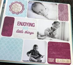 "Simple Srappy Page: You'll need 3 photos, scraps of Designer Papers no smaller than 4x4 & Slide-In Cards from Tangerine, Plum & Then Some.Trim 1 photo to 4x4 and left the other 2 at 4x6. Cut scraps to measure: 2 @ 2x4 and 3 @ 4x4. Trim 2 Slide-In Cards to 4x4, then round corners. Lop off 1/8"" from length & width of everything (for white space between all pieces). Adhere everything to page as shown. Trim out flower embellishment, then adhere. Voila :) #CreativeMemories…"