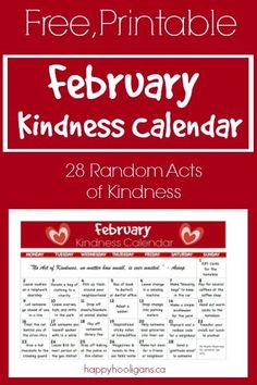 February Random Acts of Kindness Calendar - 28 ways to spread kindness in your community. Wonderful way to encourage your children to think of and give of themselves to others. Happy Hooligans, February Calendar, Kids Calendar, Creative Calendar, Calendar Ideas, Baby Sitting, Milk Shakes, Activities For Kids, Crafts For Kids