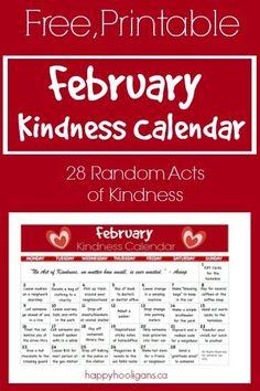 February Random Acts of Kindness Calendar - Happy Hooligans