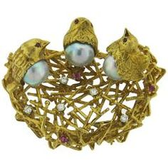 Adorable Pearl Ruby Diamond Gold Bird Nest Brooch Pin