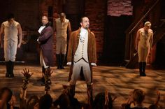 """LOS ANGELES, CA - FEBRUARY 15: (R) and cast of """"Hamilton"""" perform on stage during """"Hamilton"""" GRAMMY performance for The 58th GRAMMY Awards at Richard Rodgers Theater."""