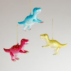Glass Dinosaurs with Dots Ornaments, Set of 3   World Market