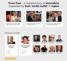 Press Pass: The site lists journalists on Twitter by region, beat or by publication, making it incredibly easy to find the journalist who can cover your story. Not only can you find out which journalists work at major publications and sites, you can connect with them through Twitter.