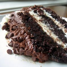 Chocolate layer cake with cream cheese filling and chocolate buttercream--can you imagine? Cream cheese filling AND chocolate buttercream? I can& take my eyes off of this slice of decadence! Brownie Desserts, Mini Desserts, Chocolate Desserts, Just Desserts, Delicious Desserts, Decadent Chocolate, Chocolate Chocolate, Healthy Chocolate, Chocolate Cupcakes