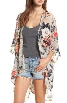 Main Image - Woven Heart Burnout Velvet Kimono