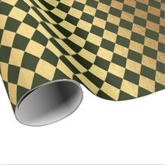 Cali Green Gold Geometry Chessboard Diamond Cut Wrapping Paper - bridal gifts bride wedding marriage