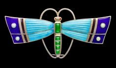 Karl Hermann. Jugendstil dragonfly brooch. Silver enamel. German, c.1905