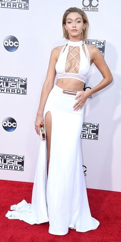 AMAs 2015: GIGI HADID The model wore head-turning white separates by Bao Tranchi and a Sutra diamond ear climber.