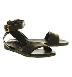 Office Isometric Black Leather - Sandals