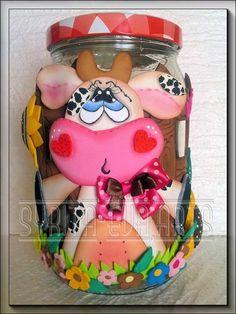 fofuchas-syritaeva-arts: Tarros Vidrio Decorados. Cute Eyes, Rose Art, Foam Crafts, Fabric Painting, Painting Inspiration, Ideas Para, Art Dolls, Make It Simple, Cow